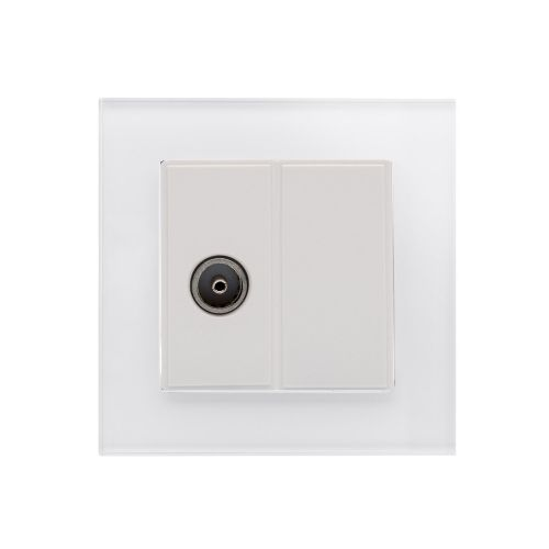 RetroTouch Single TV Coax Socket White Glass PG 04077
